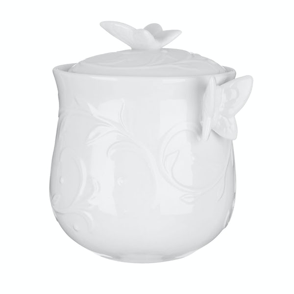 Edelle porcelain white butterfly storage jar