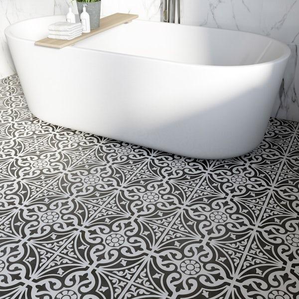 British Ceramic Tile Victoriana Feature Black Matt Tile
