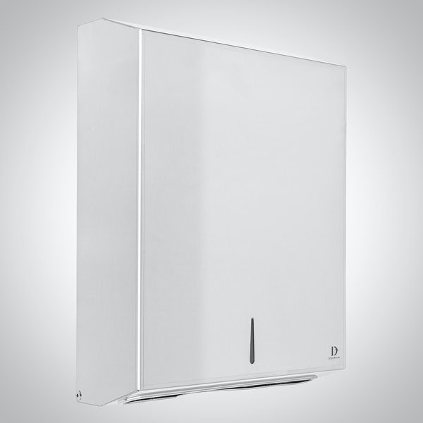 Dolphin commercial polished stainless steel maxi paper towel dispenser