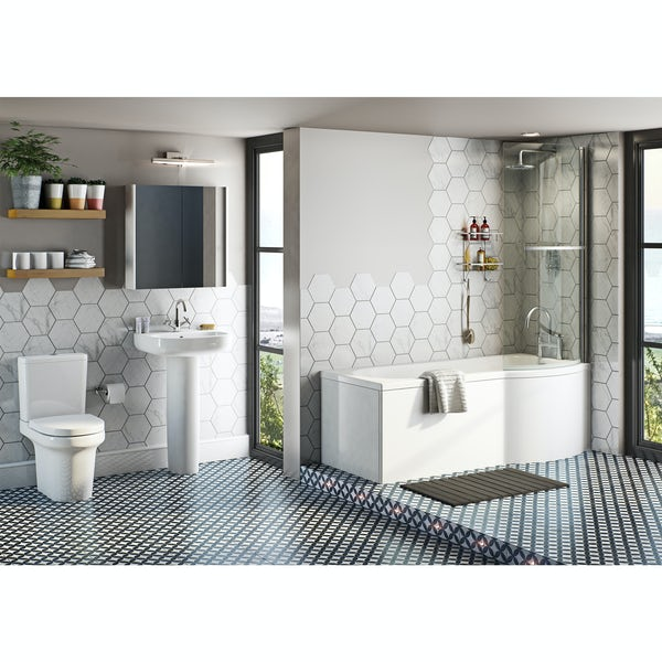 Mode Burton bathroom suite with right handed P shaped shower bath 1675 x 850