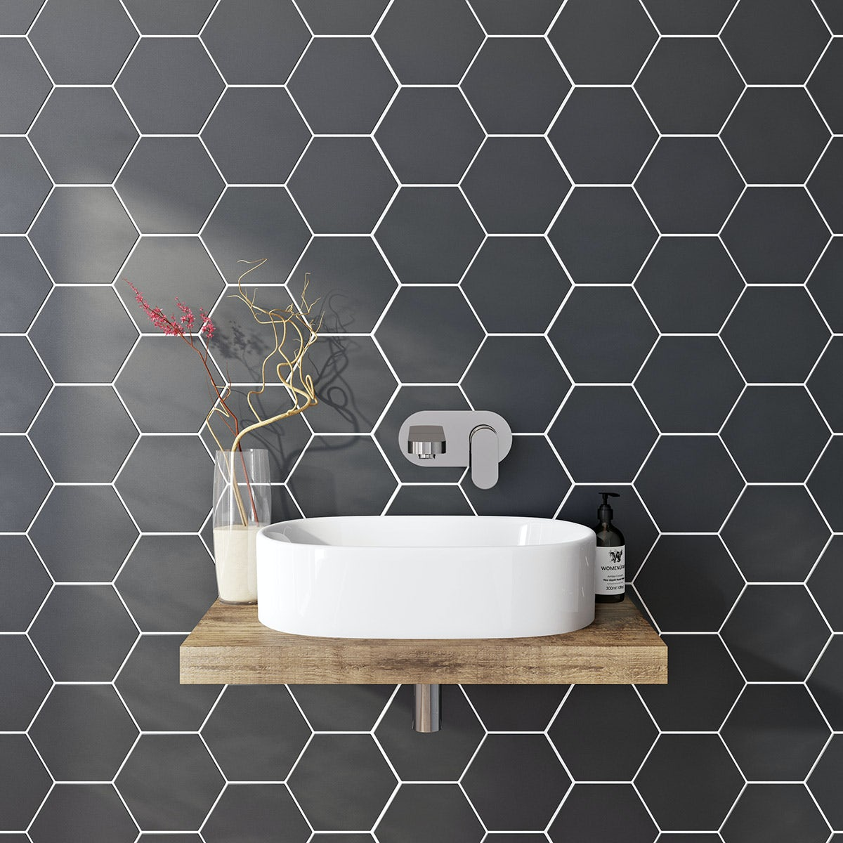British Ceramic Tile Hex Black Matt Tile 175mm X 202mm