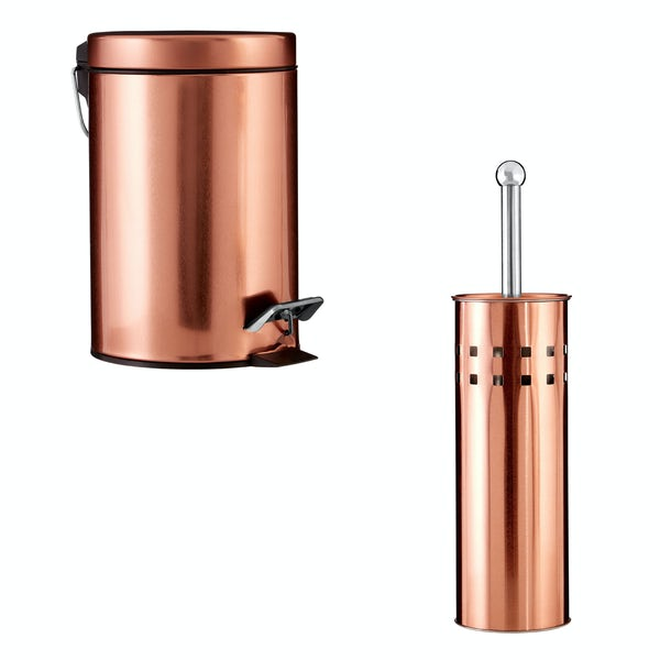 Accents Rose gold 3l bin and toilet brush 2 piece bathroom accessory set