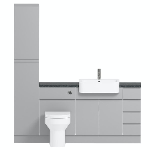 Orchard Wharfe slate matt grey straight small drawer fitted furniture pack with black worktop