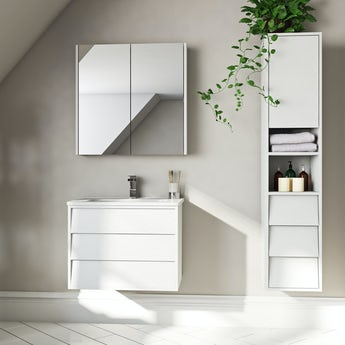 Mode Cooper white furniture package with wall hung vanity unit 600mm