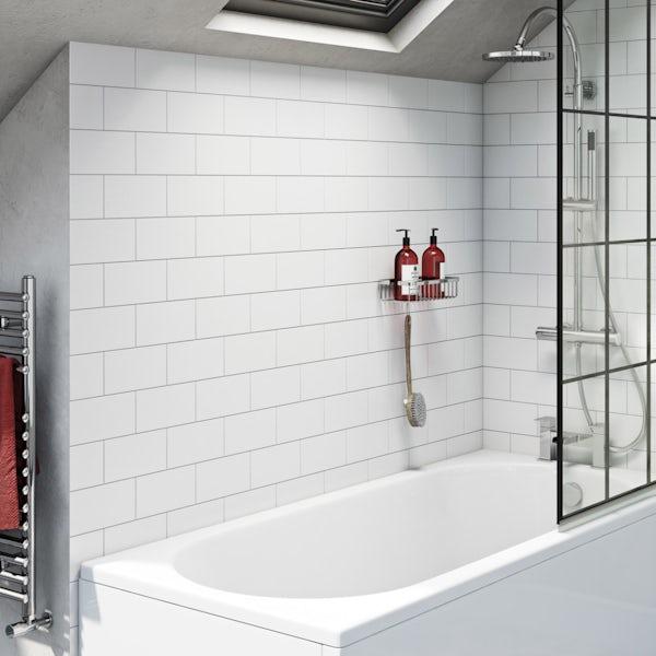 Pure white flat matt wall tile 100mm x 200mm