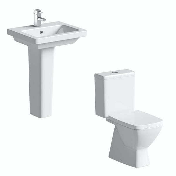 Cooper Close Coupled Toilet and Full Pedestal Basin Suite