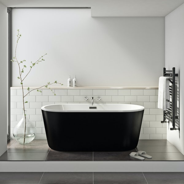 Mode Tate freestanding bath black 1500 x 700