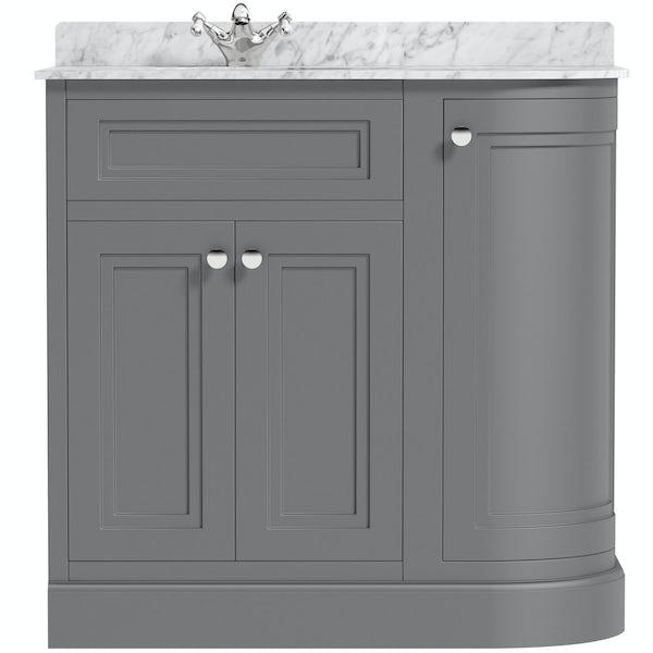 The Bath Co. Chartham slate matt grey right handed floorstanding vanity unit and white marble basin 900mm
