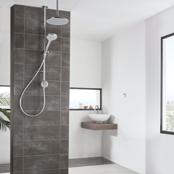 Aqualisa Unity Q Smart exposed shower pumped with adjustable handset and ceiling head