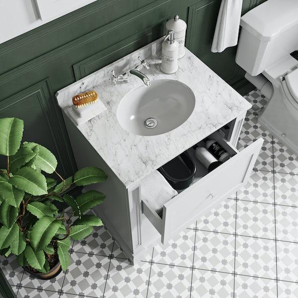 The Bath Co. Burghley matt white floorstanding vanity unit and white marble basin 650mm