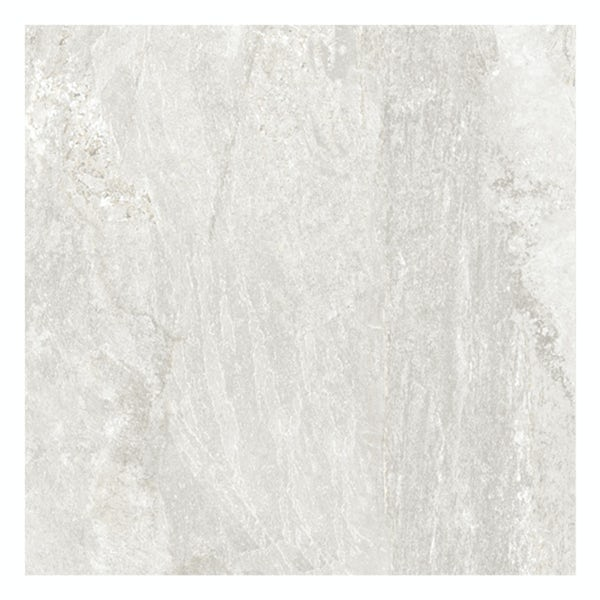 Ontario white stone effect matt wall and floor tile 615mm x 615mm