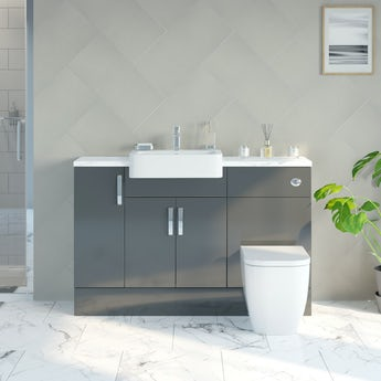 Reeves Nouvel gloss grey small fitted furniture combination with white marble worktop