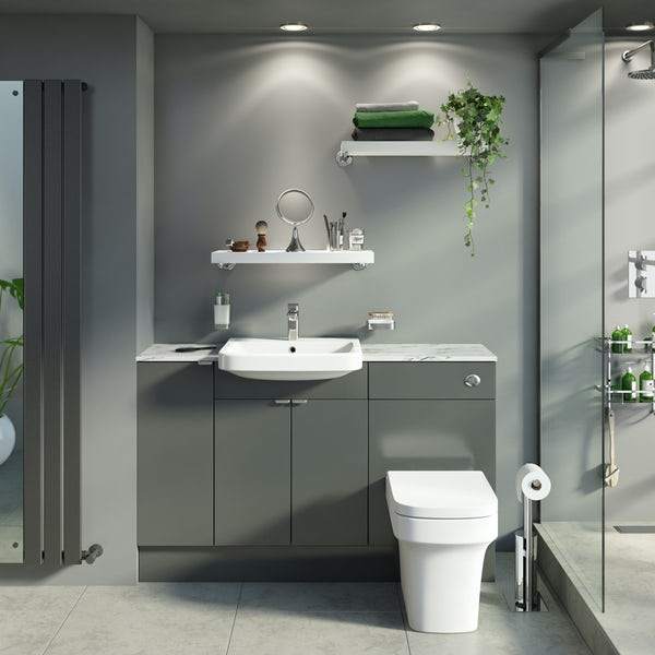 Reeves Wyatt onyx grey small fitted furniture combination with white marble worktop