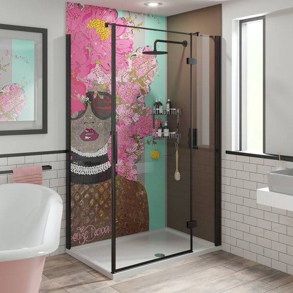 Louise Dear Kiss Kiss Bam Bam Brown acrylic shower wall panel pack with black rectangular enclosure