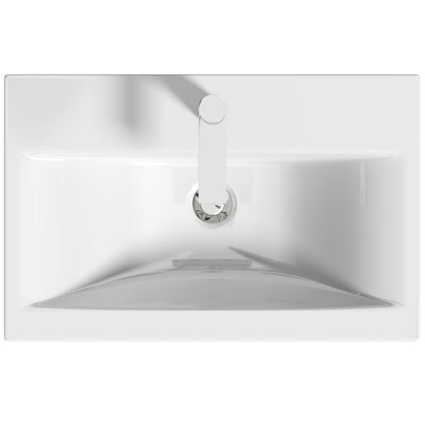 Mode Tate II white & oak wall hung vanity unit and ceramic basin 600mm