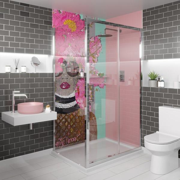Artist Collection Lush Blush Light Pink acrylic shower wall panel 2440 x 900mm
