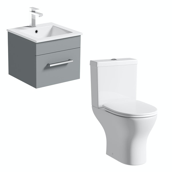 Orchard Derwent stone grey cloakroom suite with round close coupled toilet