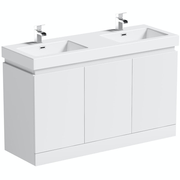 Mode Hardy white floorstanding vanity unit and basin 1380mm