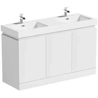 Mode Hardy white floorstanding double vanity unit and basin 1380mm