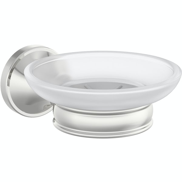 Accents round traditional soap dish and holder