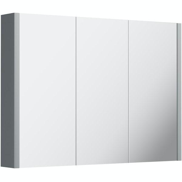 Orchard Derwent stone grey 3 door mirror cabinet