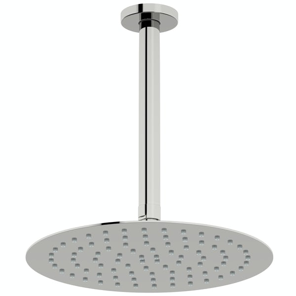 Mode Slim round stainless steel 250mm shower head and ceiling arm