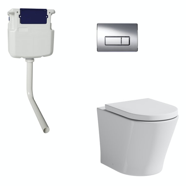 Mode Tate rimless back to wall toilet with soft close seat, concealed cistern and push plate