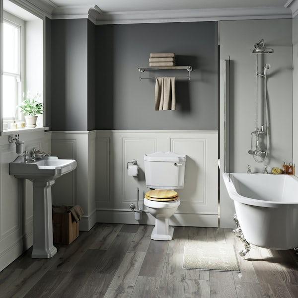 The Bath Co Winchester Oak Freestanding Shower Bath Suite