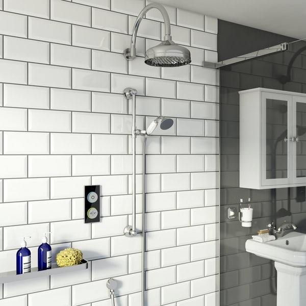 SmarTap black smart shower system with traditional slider rail and wall shower set