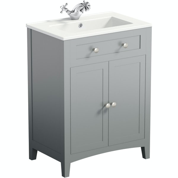 The Bath Co. Camberley satin grey floorstanding vanity unit and ceramic basin 600mm with tap