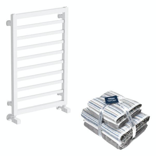 Mode Burton white heated towel rail 700x450 with Silentnight Zero twist grey 4 piece towel bale