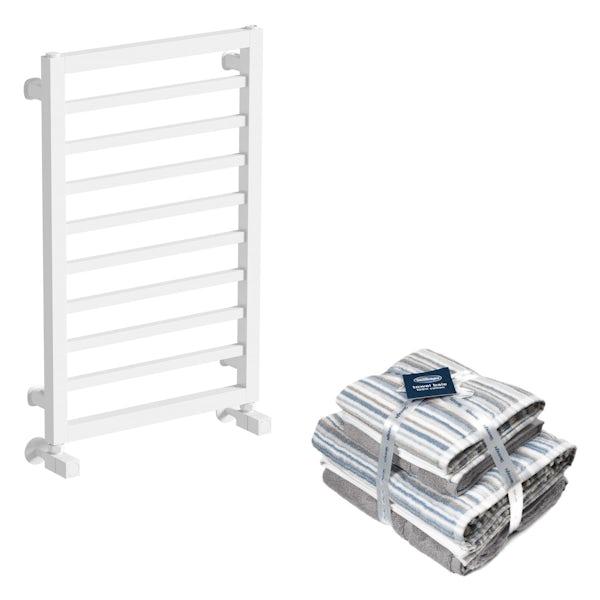 Mode Burton white heated towel rail 700x450 with Silentnight Zero twist grey 4 piece towel bale