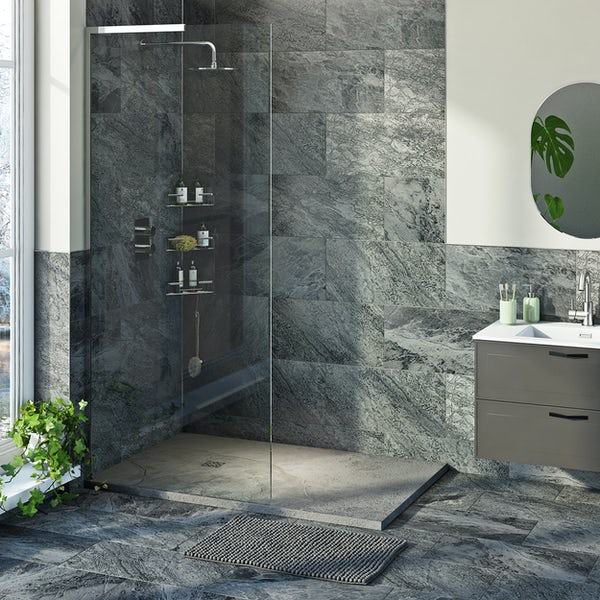 Mode slate effect grey rectangular shower tray with colour matched waste cover