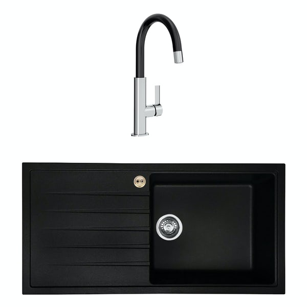 Bristan Gallery quartz left handed black easyfit 1.0 bowl kitchen sink with Melba black tap