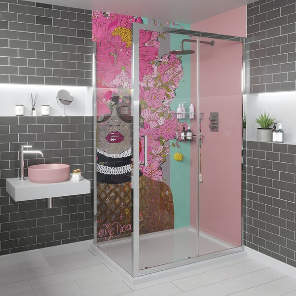 Louise Dear Kiss Kiss Bam Bam acrylic shower wall panel with 1200 x 900mm rectangular enclosure