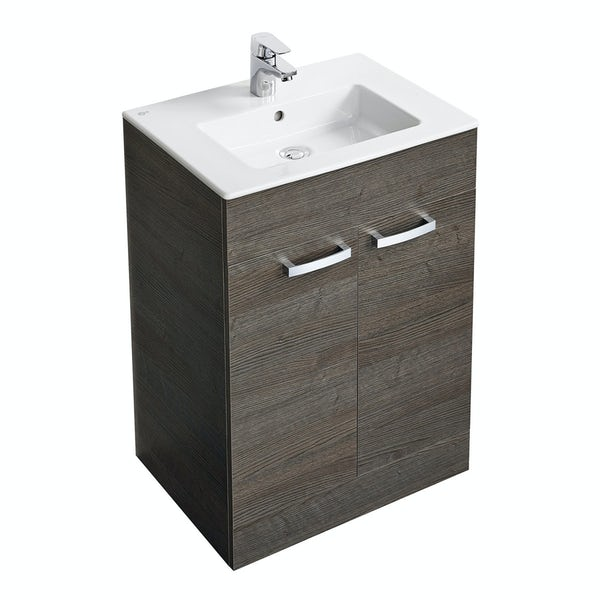 Ideal Standard Tempo sandy grey vanity door unit with 1 tap hole basin 600mm