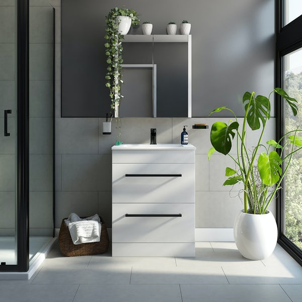 Orchard Derwent white floorstanding vanity drawer unit with black handle and ceramic basin 600mm