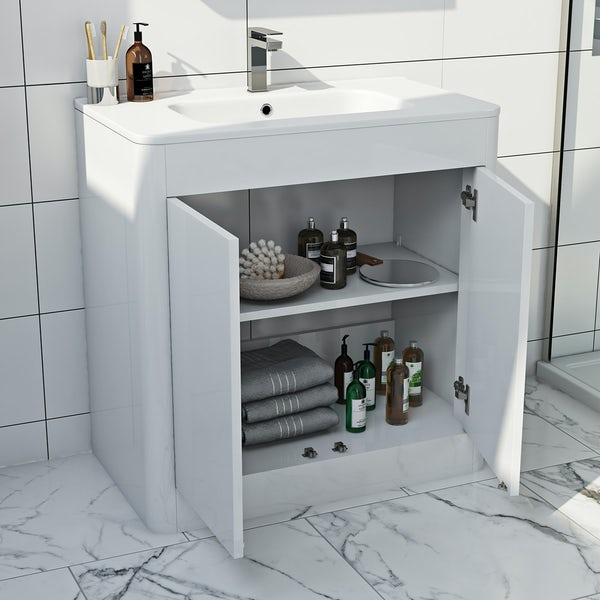 Mode Carter ice white vanity unit and basin 800mm
