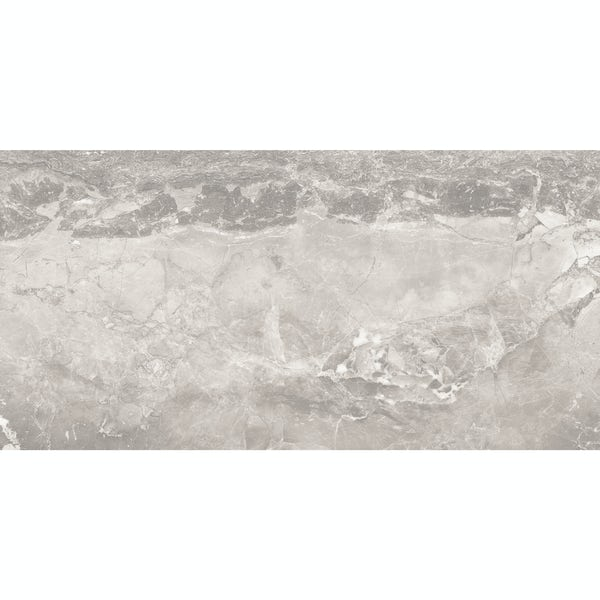 Beau grey lappato semi polished stone effect matt wall and floor tile 300mm x 600mm