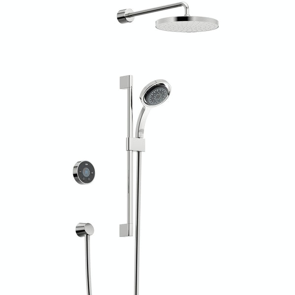 Mira and Mode shower enclosure and tray bundle with Mira Platinum digital shower