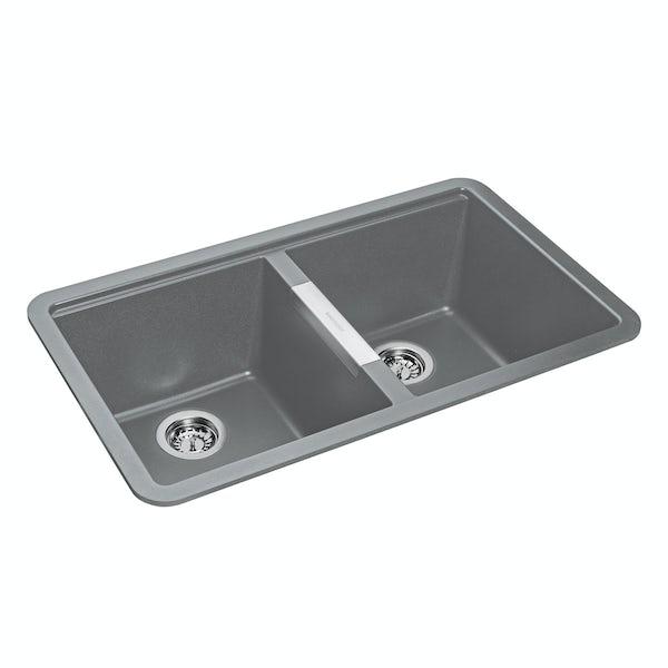 Rangemaster Paragon 2.0 bowl undermount croma grey black kitchen sink