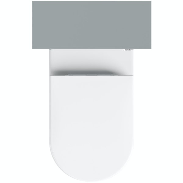 Clarity satin grey back to wall unit with contemporary toilet and seat
