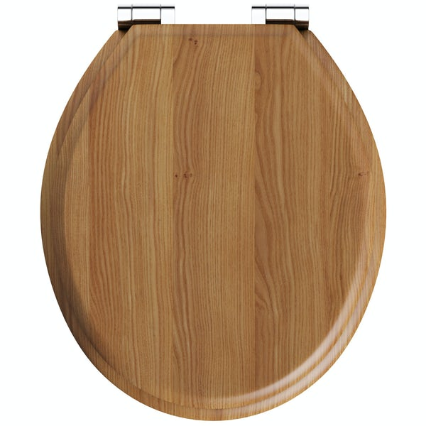 The Bath Co. traditional MDF oak top fixing soft close toilet seat