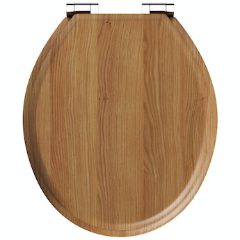 The Bath Co. traditional oak effect top fixing soft close seat