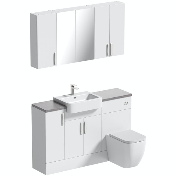 Mode Nouvel gloss white small fitted furniture & storage combination with mineral grey worktop