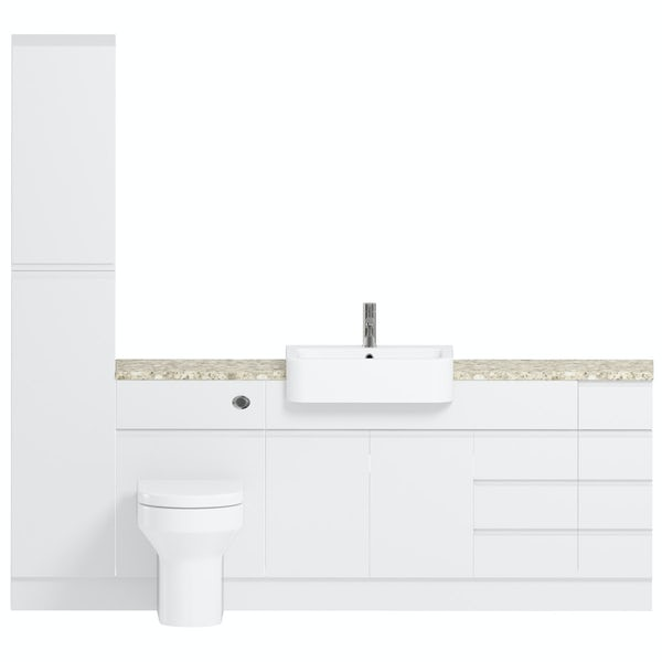 Reeves Wharfe white straight large drawer fitted furniture pack with beige worktop