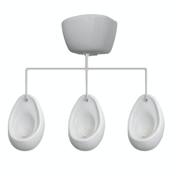 Kirke Curve complete top in concealed urinal 600mm pack for 3 bowls