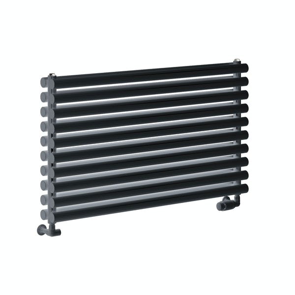 Reina Nevah anthracite grey double horizontal steel designer radiator