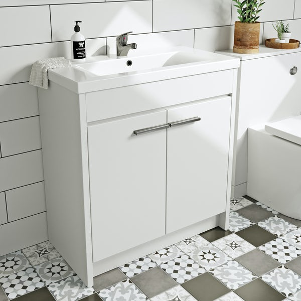 Clarity white floorstanding vanity unit and ceramic basin 760mm with tap