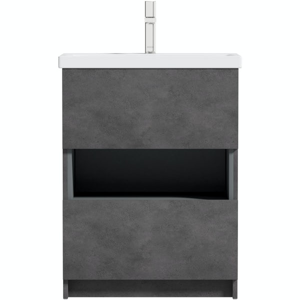 Mode Tate II riven grey floorstanding vanity unit and ceramic basin 600mm